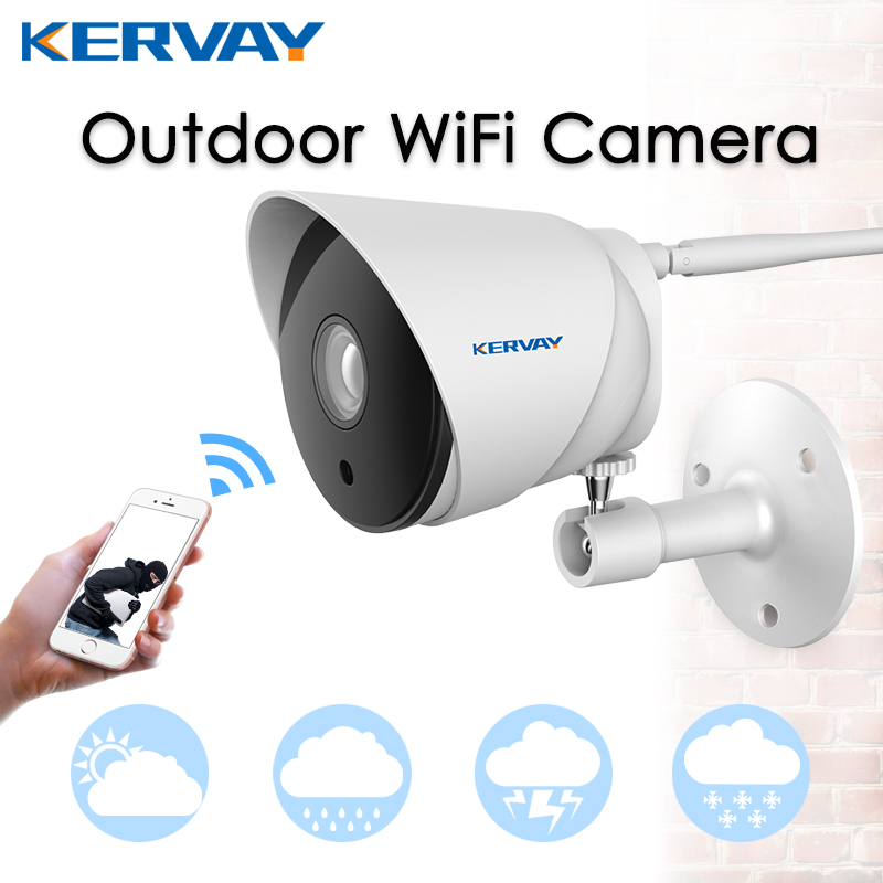 Kervay Waterproof 720p Outdoor HD Wi-fi IP Camera CCTV Wireless P2P Network Surveillance Camera With Night vision APP Control c101 0 3mp 1 4 cmos p2p surveillance ip network camera with wi fi tf