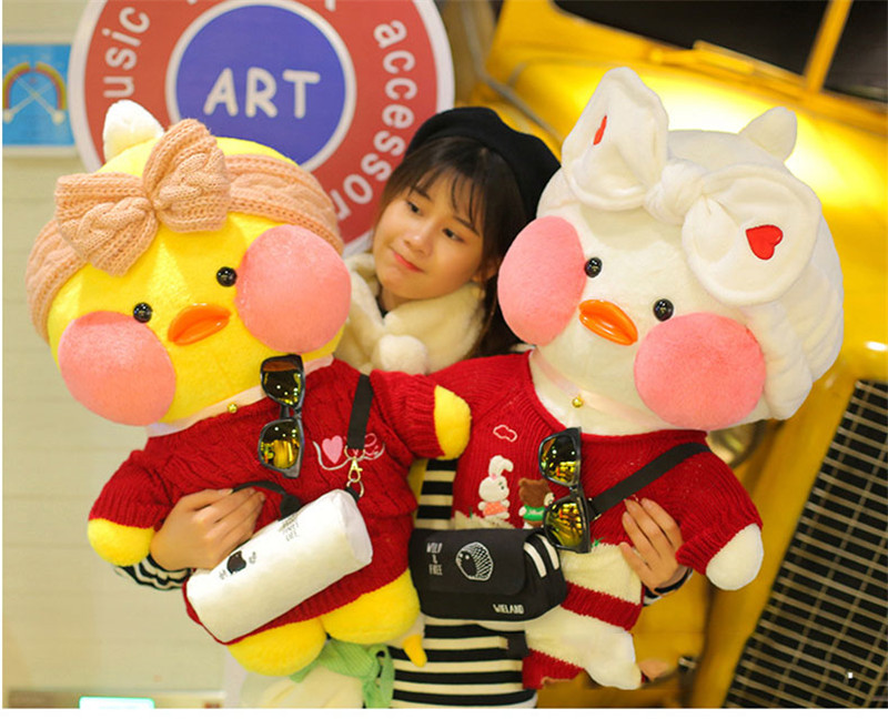 80cm Lalafanfan Plush Stuffed Toys Doll Kawaii Cafe Mimi Yellow Duck lol Change Clothes Plush Toys Girls Gifts Toys for Children 15