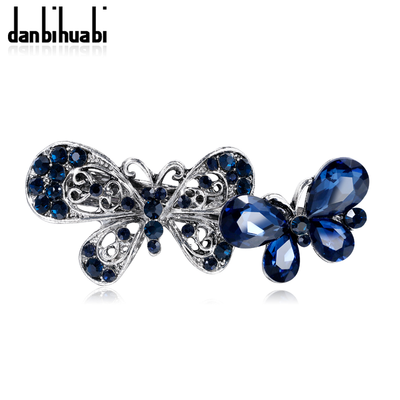 danbihuabi Fashion Bridal Wedding Hair Accessories Indian Ancient Silver Butterfly Ink Blue Crystal Elegant Hairpins for Women