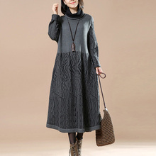 2017 High Quality Winter Turtleneck neck Long Sleeve Jumpers Cotton Pullover Knitwear Sweater Dress