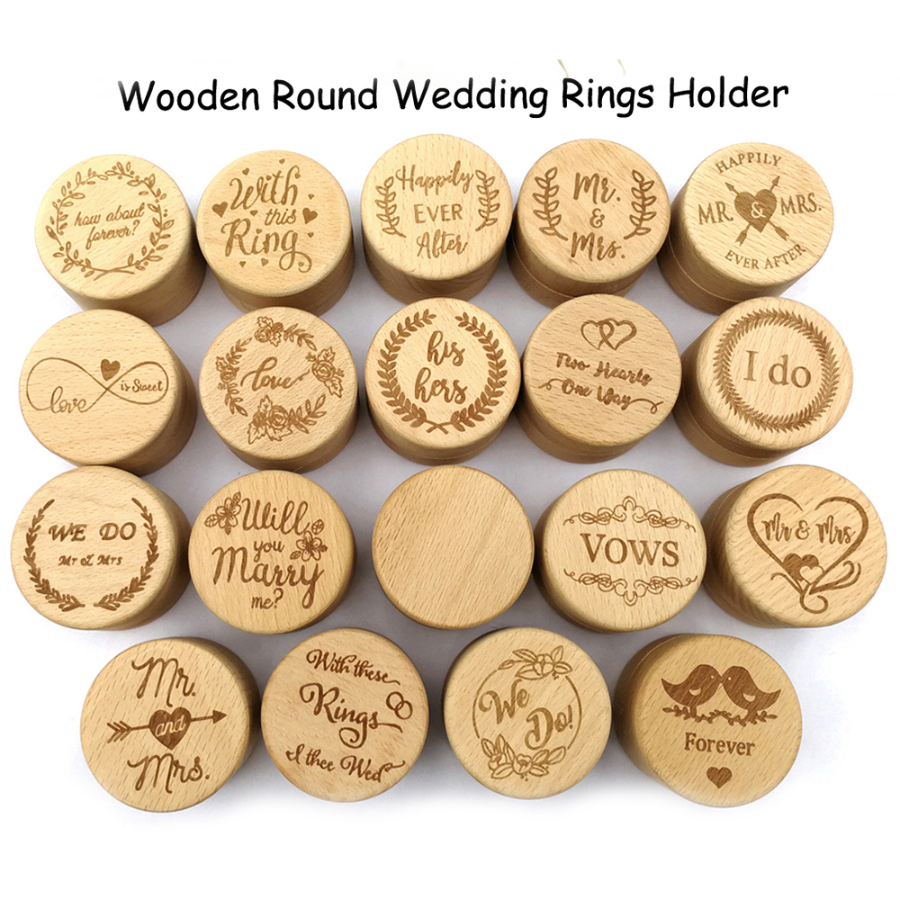 Wedding Wood Ring Box Personalized Holder Ring Bearer Boxes Rustic Letter Eco-Friendly Forever Love Jewelry Accessory 12 Styles