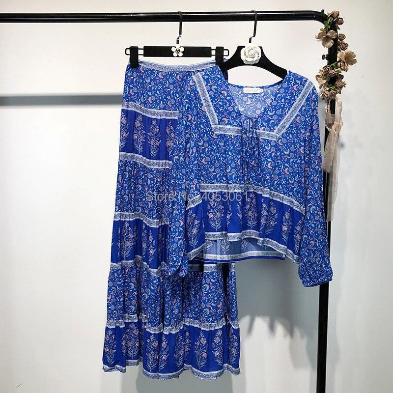 green Jupe Cravate Boho Blouse Floral Set Taille Set blue Red top Et Chemise Top Print Print And 2 Femmes Midi Print Vintage Avec Haute Imprimé Nouveau Pcs Swing 2018 Z5qnxzCwXp