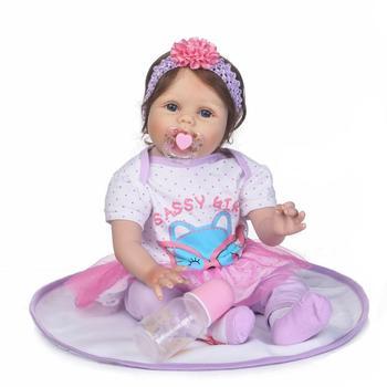 Silicone reborn baby dolls 22inch 55cm vinyl reborn girl toddler princess doll alive bebe boneca reborn menina child gift toys