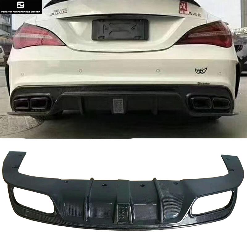AMG Style Rear Bumper Silver Black Diffuser Muffler Tip Fit 13-16 MB CLA-Class