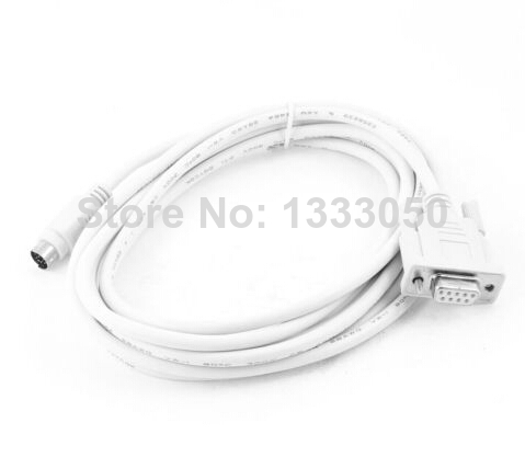 9.8ft RS232 DB9 Female to <font><b>8</b></font> Pin Din Male PLC Programming Cable White