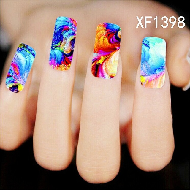 Water Transfer Nail Art Stickers Decal Multi Color Sky Masterpiece Oil  Painting Design DIY French Manicure - Water Transfer Nail Art Stickers Decal Multi Color Sky Masterpiece