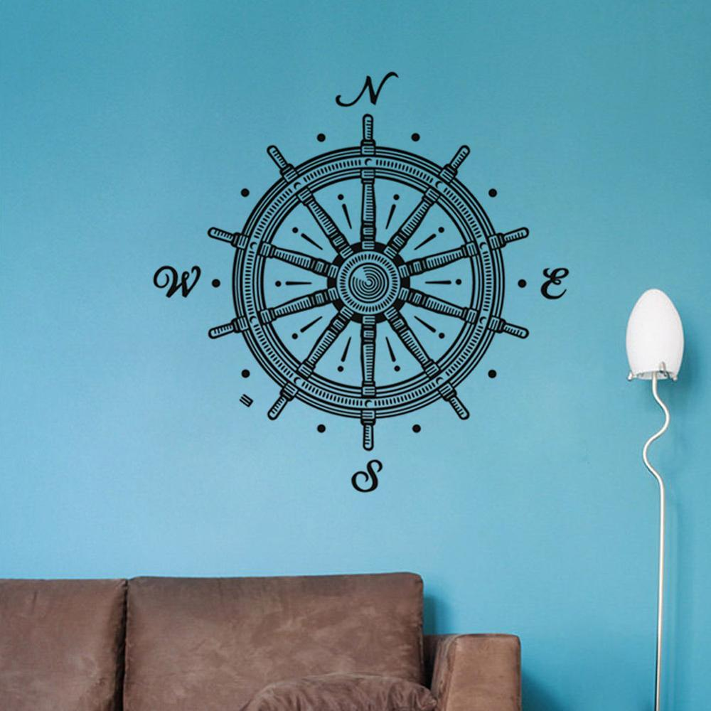 Funny N.W.E.S. Wheel Vinyl Wall Stickers For Kids Room Nautical Wheel Compass Rose Art Murals Home Decor