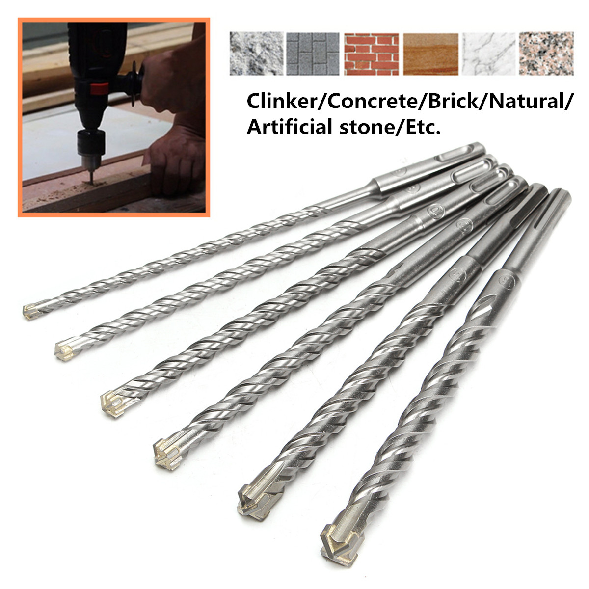 26cm Drill Bits 6/8/10/12/14/16mm For Electric Hammer Polisher Bi-Metal Cross Type Tungsten Steel SDS Plus For Masonry Concrete