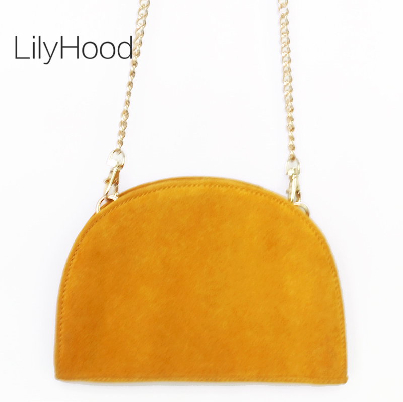 Split Suede Semi Circle Shoulder Bag Mustard Yellow Genuine Leather Small Crossbody Bag For Women Female Cute Blue Messenger Bag