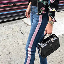 Pink Striped Jeans Women Mid Waist Casual Stretched Skinny Pencil Pants Slim Jeans TSS136 skinny striped jeans