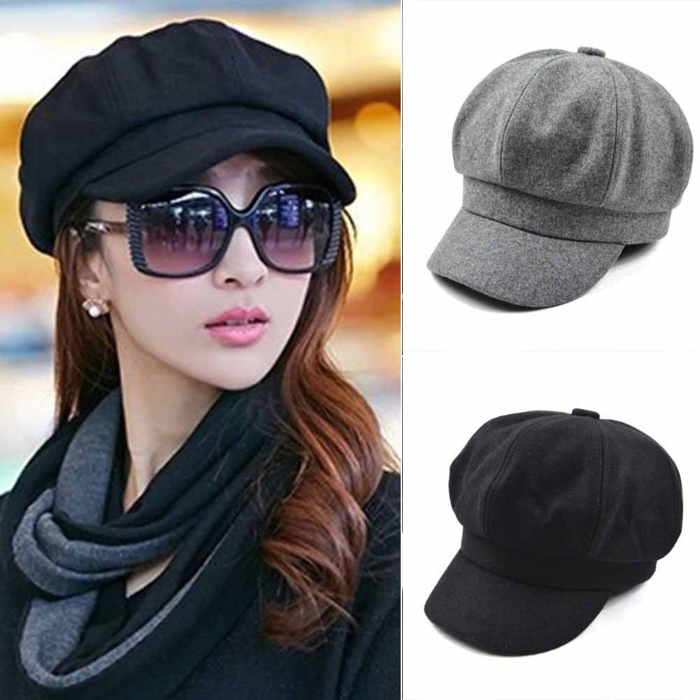 Womens French Beret Hat Newsboy Cabbie Beret Cap Cloche Woolen Painter Visor Hats for Autumn Winter кепка женская кепки женские бейсбольная кепка берет