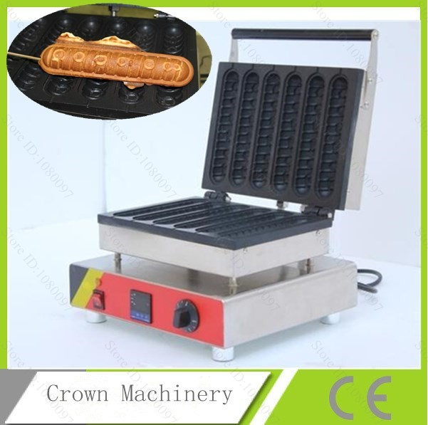 commercial digital thermostat 6pcs hot dog waffle machine stainless steel hotdog waffle maker in. Black Bedroom Furniture Sets. Home Design Ideas