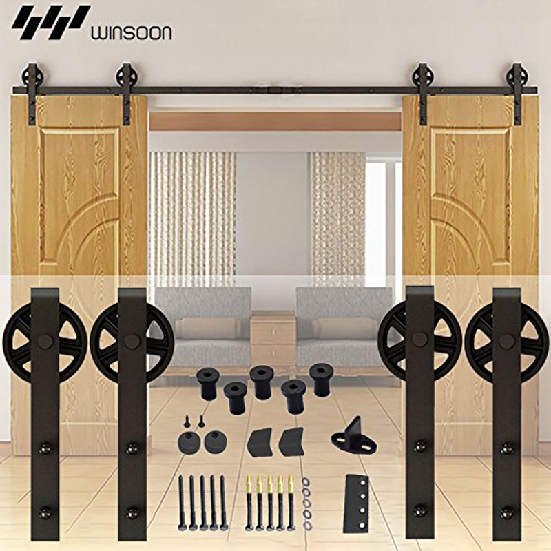 Ship from usa double barn wood sliding door hardware kit antique ship from usa double barn wood sliding door hardware kit antique roller track american country new style black surface in doors from home improvement on eventshaper