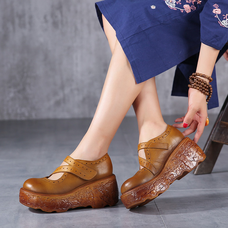 Spring Genuine Leather Shoes Thick Soles New Slope Retro Handmade Retro Wedge High Heels Women Shoes A10-18
