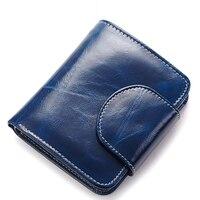 Genuine Leather Women Wallets Ladies Designer Luxury Brand Zippers Hasp Vintage Wallet Female Oil Wax Cowhide Clutch Purses