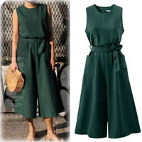 Women Elegant Wide Leg Long Jumpsuit With Belt 2018 Summer Plus Size Jumpsuits Casual Solid Rompers With Pockets