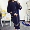 2016 New Casual long sweater women Loose striped thick warm wool sweater female fashion autumn winter Pullover pull femme LX6157