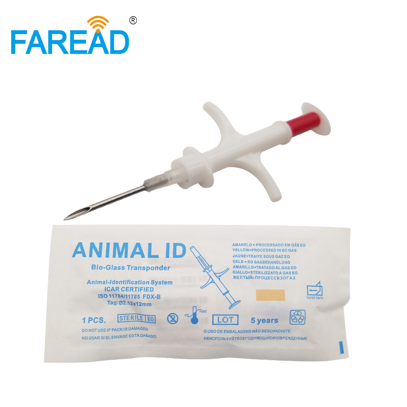 Free Shipping 2.12*12mm 134.2KHz FDX-B Injectable Microchip For Animal ID Bird Under Skin Pet Transponder With Syringe