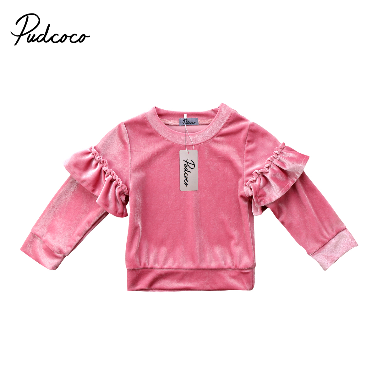 New Arrive Sweet Children Kids Baby Girls Velvet Fleece Long Sleeve O-neck Tops T shirt Ruffles Sweatshirt Jumper