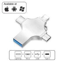 VicSoul 4 в 1 USB 3,0 флэш-накопителей для iPhone/Android Тип C интерфейсом Usb OTG накопитель 16 GB 32 ГБ, 64 ГБ и 128 Гб флешки