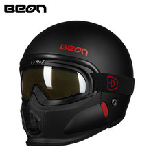 BEON B 703 빈티지 모듈 형 모토 사이클 헬멧 남성 여성 레트로 3/4 오픈 페이스 헬멧 moto Casque Casco with chin google Assemable