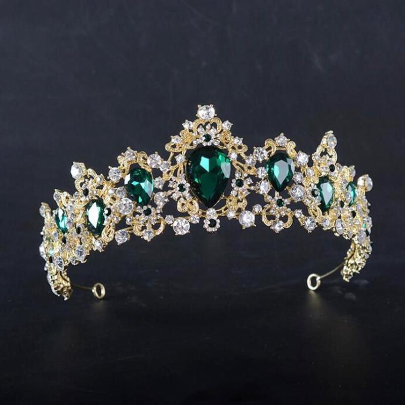 Red Rhinestones Vintage Baroque Tiaras Wedding Hair Accessories Bridal Crown