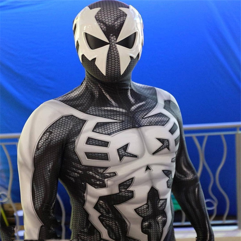 <font><b>spiderman</b></font> black and white jumpsuit cosplay <font><b>costume</b></font> Spider-Man <font><b>2099</b></font> Miguel O'Hara jumpsuit cosplay image