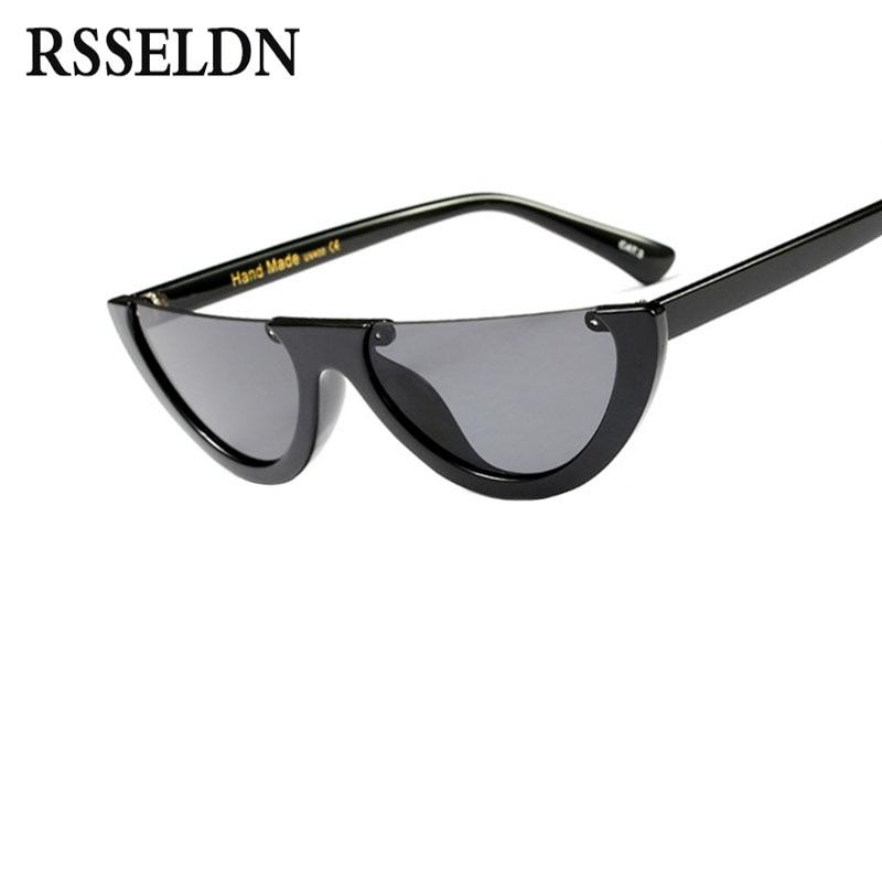 RSSELDN Fashion Half Frame Sunglasses Women Luxury Brand Designer Cat Eye Sun glasses Female Vintage Eyewears UV400 Protection