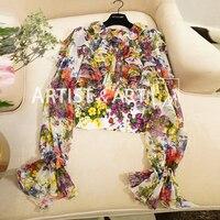 Youe светило новый дизайнер взлетно посадочной полосы шелковая блузка Для женщин ниспадающей оборкой Цветочный принт осень длинными расклеш