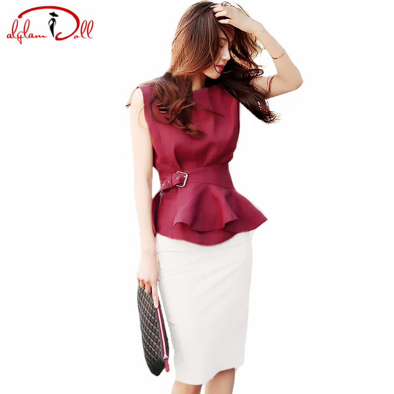 2017 new ol sleeveless sashes wine red peplum top shirt for Red wine out of white shirt