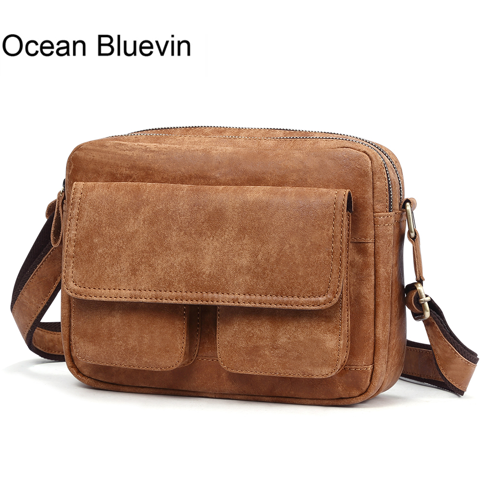OCEAN BLUEVIN New Genuine Leather Men Bag Messenger Bags Vintage Zipper Casual Flap Shoulder Bags for Men Crossbody Bag Leather цена