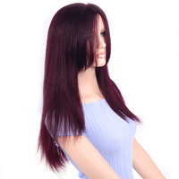LADYSTAR Full Lace Human Hair Straight Wig For Women by Full Hand Made Double Lace Wig With Remy Hair Red Color