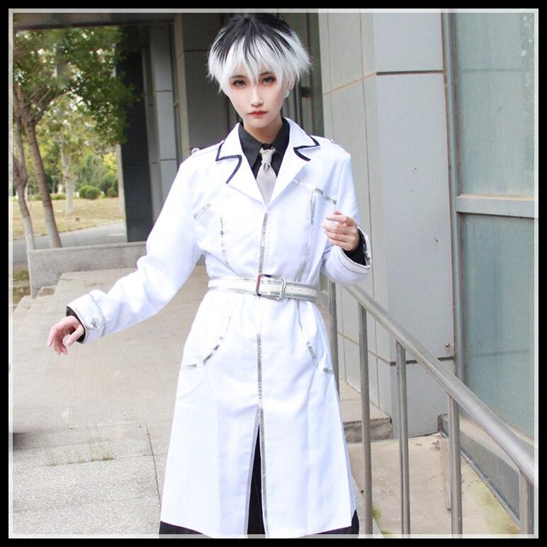 Nouveauté Anime Tokyo Ghoul: re Cosplay Costume Sasaki Haise uniformes Kaneki Ken costumes manteau + chemise + cravate + pantalon + ceinture perruque chaussures botte