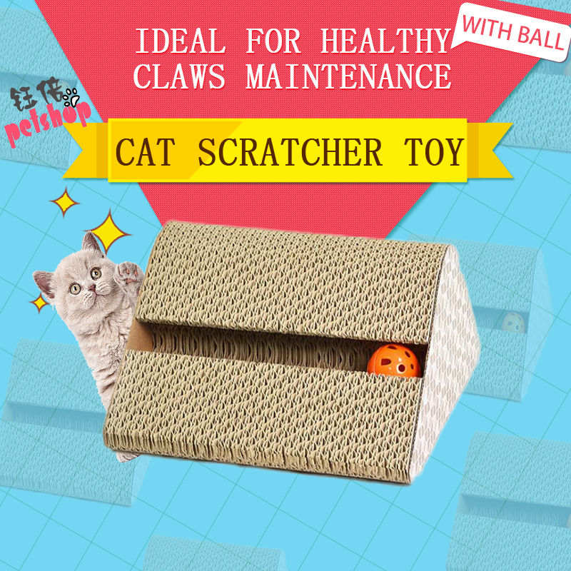 YUBEI Cat Scratcher Cardboard With Ball Squeak Toys Funning Pet Products Cat Toy Supplies Scratchers for Cat Toys Game Fun