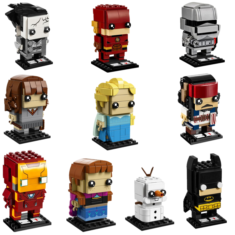 NEW Brickheadz Marvel Super Hero Captain Jack Ironman Building Blocks Brick Legoinglys Kid Toys Gift 2017 hot compatible legoinglys marvel super hero avengers iron man mk series building blocks deformation armor brick toys gift