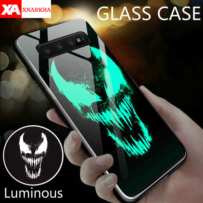 Venom Deadpool Black Panther Iron Man Batman Luminous Glass Case For Samsung Galaxy S8 S9 S10 e Plus Note 9 8 Marvel Phone Cover(China)