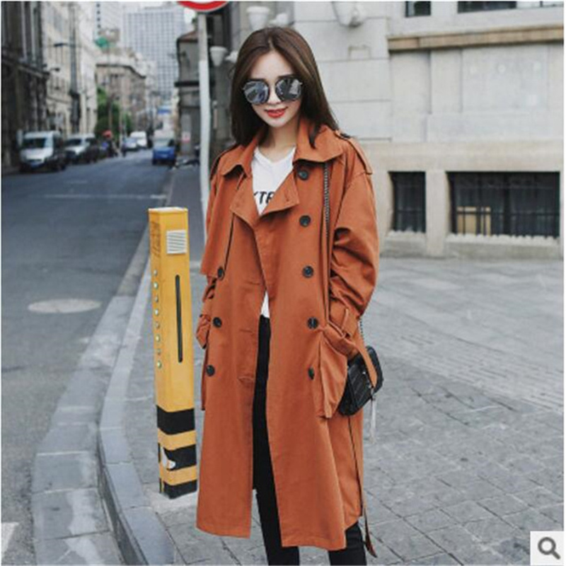 New Autumn Women Loose Long   Trench   Coats Double Breasted Solid Color   Trench   Street Fashion Casual Baseball Coat Female Autumn