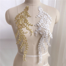10Pieces Off White Lace Collar Fabric Trim DIY Embroidery Appliqued Neckline Applique Sewing Craft Golden Leaves Motif