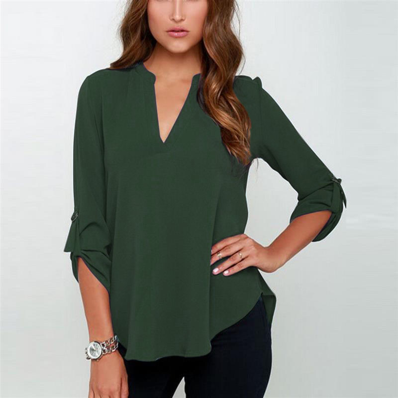 Causal Women Top and Blouses Plus Size s-5XL Sexy V-neck Spring  Long Sleeve Women Chiffon Top