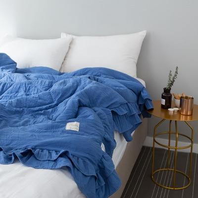 Однотонное розовое, зеленое, тонкое летнее одеяло, покрывало для кровати, лоскутное одеяло, подходит для взрослых, детей, домашний текстиль - Цвет: A