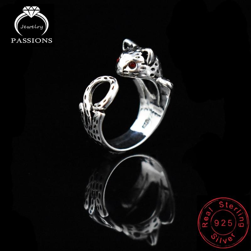 Hot Sale Fashion Antike 925 Sterling Silber Lucky Cat Ringe verstellbare Punkrock Unisexuelle Ring Frauen Schmuck Geschenk Großhandel
