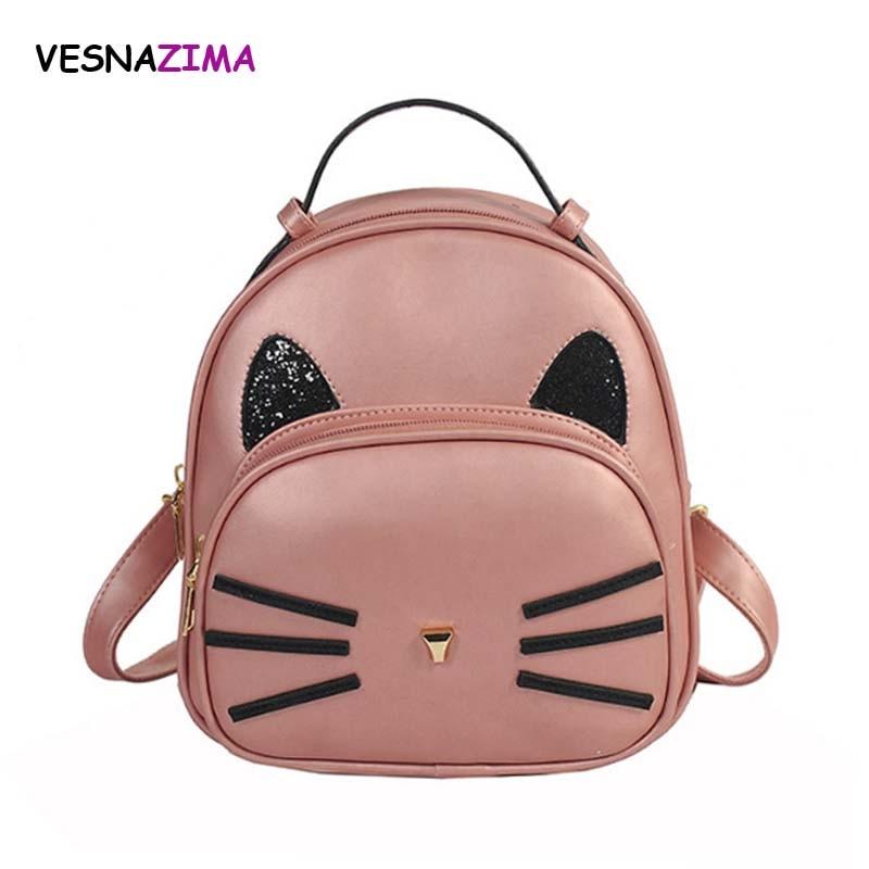 SUDS Brand Women Bag PU Leather Backpacks Teenage Girls Black School Bags  Preppy Style Cat Ears Student Small Travel Backpacks 4c6e33f8372ef