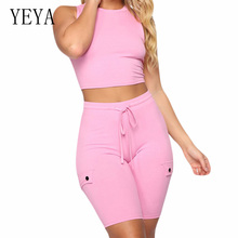 YEYA 2 Piece Sets Sleeveless O Neck Top and Tie-up Short Pants Summer Casual Bodycon Bandage Playsuits Fashion Black Rompers
