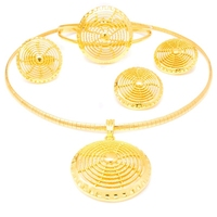 YULAILI Pure Gold Color Necklace Bangle Earrings Ring Jewelry Set Classical Ethiopian Ladies Costume Habesha Accessories