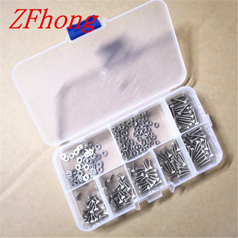 250PCS DIN912 m1.6 M2 m2.5 M3 Screws 304 Stainless Steel Hex Socket cap head Screws Bolts With Hex Nuts Washers Assortment Kit 20pcs m4 m5 m6 din912 304 stainless steel hexagon socket head cap screws hex socket bicycle bolts hw003