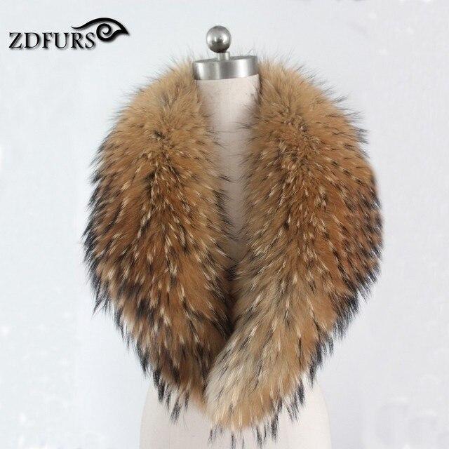 ZDFURS * Invierno 100% Real Natural de piel de Mapache Cuello de Piel Abrigo de Las Mujeres Suéter de Cuello Bufandas de Cuello de piel de Mapache de las deformaciones ZDC-163002