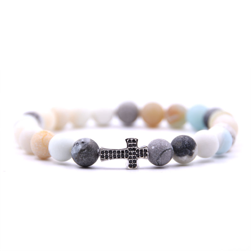 Kang hua 2019 popular Matte Colorful Stone Pave CZ 4 color Cross Bracelet For Men Women charm Jewelry Honorable Elegant gifts in Strand Bracelets from Jewelry Accessories