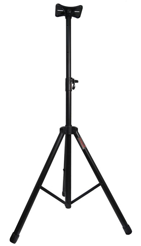 black speaker stand mount holder heavy duty tripod easy mobility safety pin knob tension locking for stability