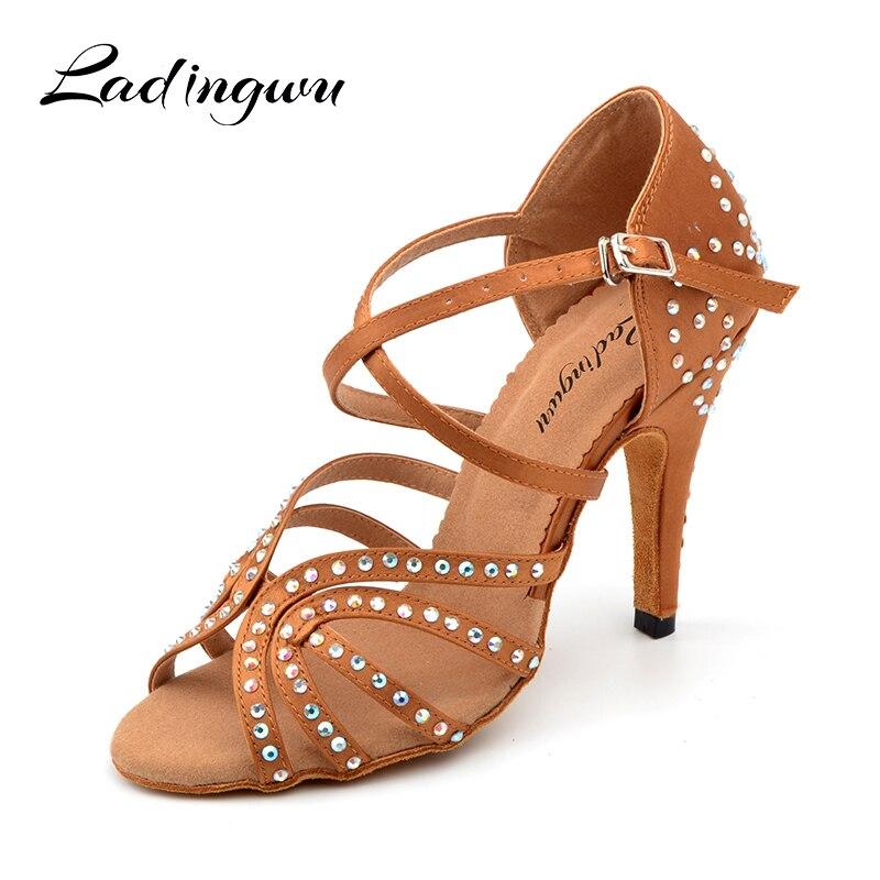 Ladingwu Glitter Rhinestone Latin Dance Shoes  Women's  Satin Brown Salsa Wedding Ballroom Dance Shoes Women  High Heel 10cm