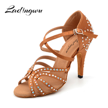 Ladingwu Glitter Rhinestone Latin Dance Shoes  womens Satin Brown Salsa Wedding Ballroom Women high heel 10cm